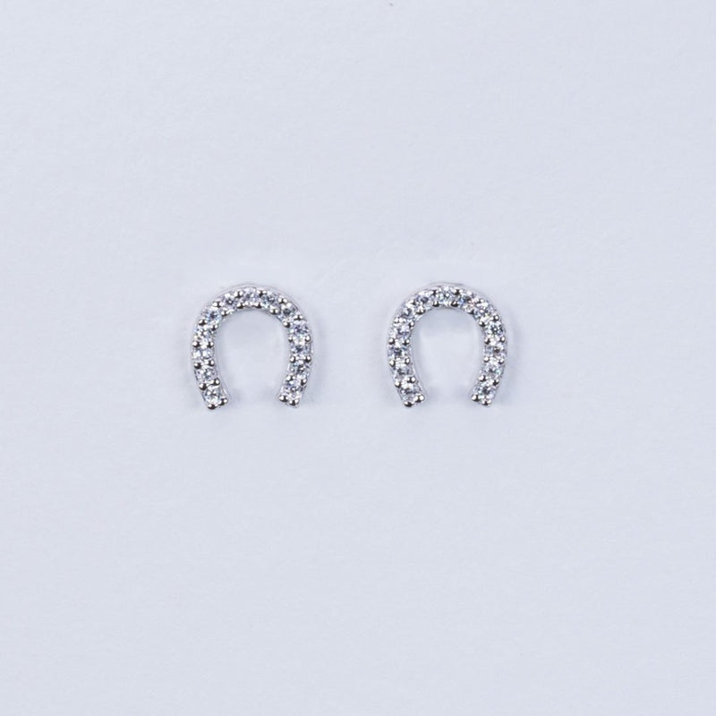 horse shoe swarovski earrings