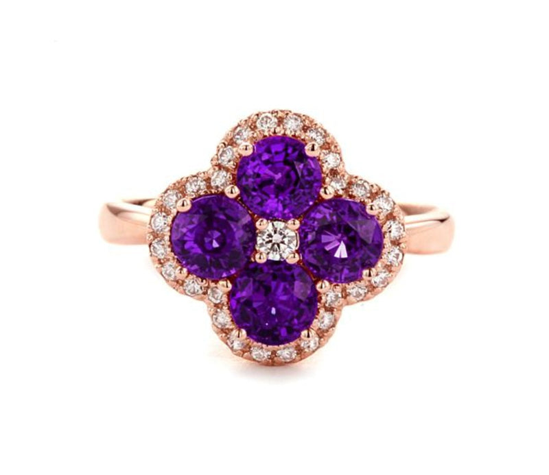 Flower Design Amethyst Ring