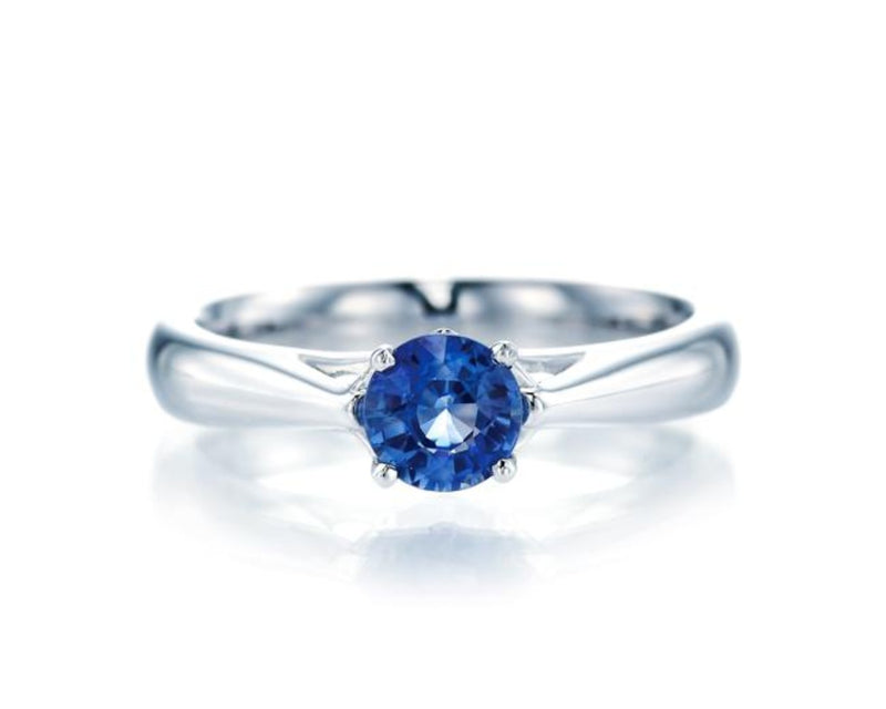 Round Blue Sapphire Simple Ring