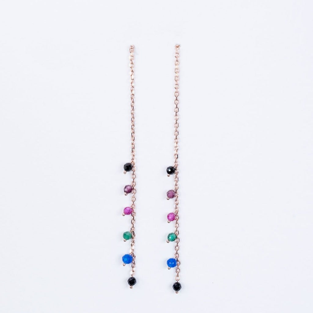 Multi gemstone pull through earrings
