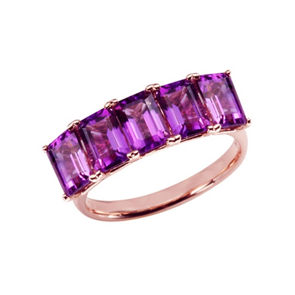 5-Stone Emerald Cut Amethyst Ring
