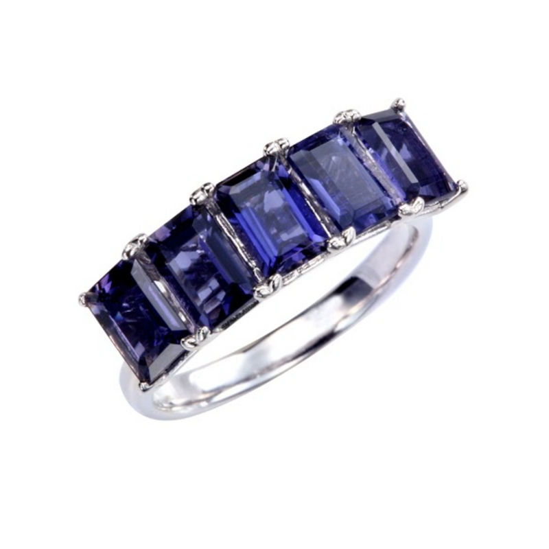 5-Stone Emerald Cut Iolite Ring