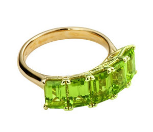 5-Stone Emerald Cut Peridot Ring