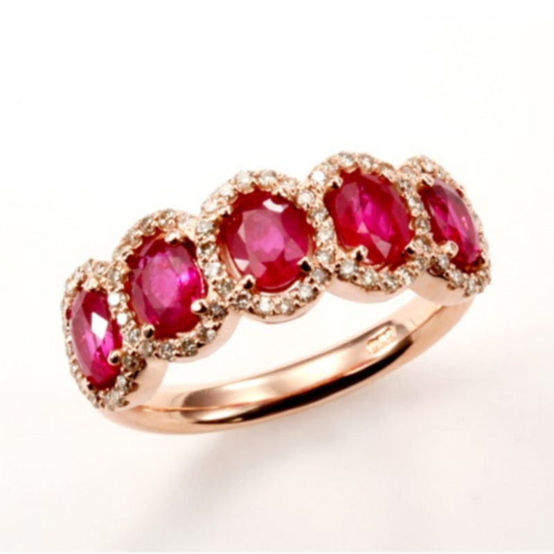 5-Stone Oval Ruby Ring