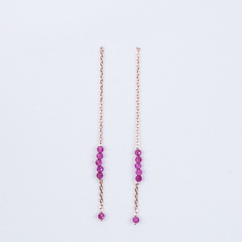 Ruby Pull through earrings