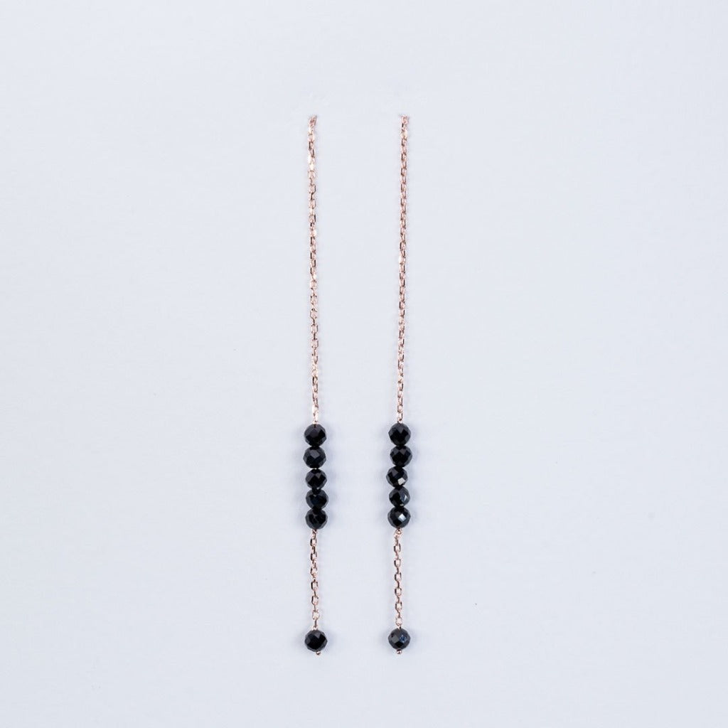 Black Onyx Pull through earrings