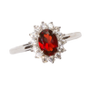 Garnet Halo Design Oval Ring
