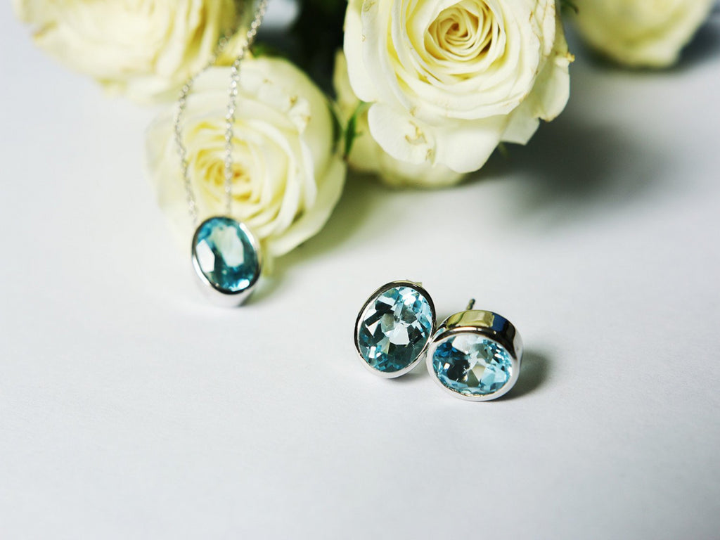 Love ; November Birthstone AA+ Blue Topaz Earrings