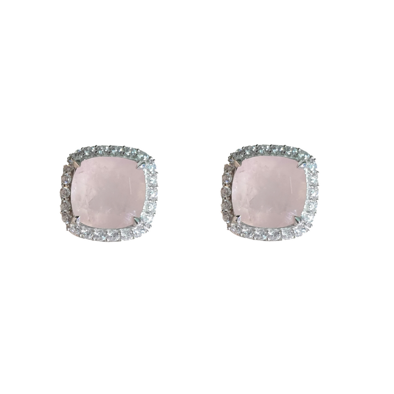 Ice Rose Quartz Fine Earrings