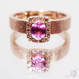 14K rosegold Pink Sapphire Ring