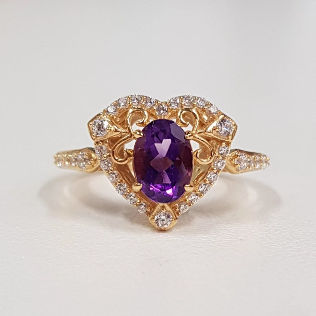 Amethyst antique design ring