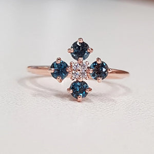 Belle Fleurs: London Blue Topaz Ring