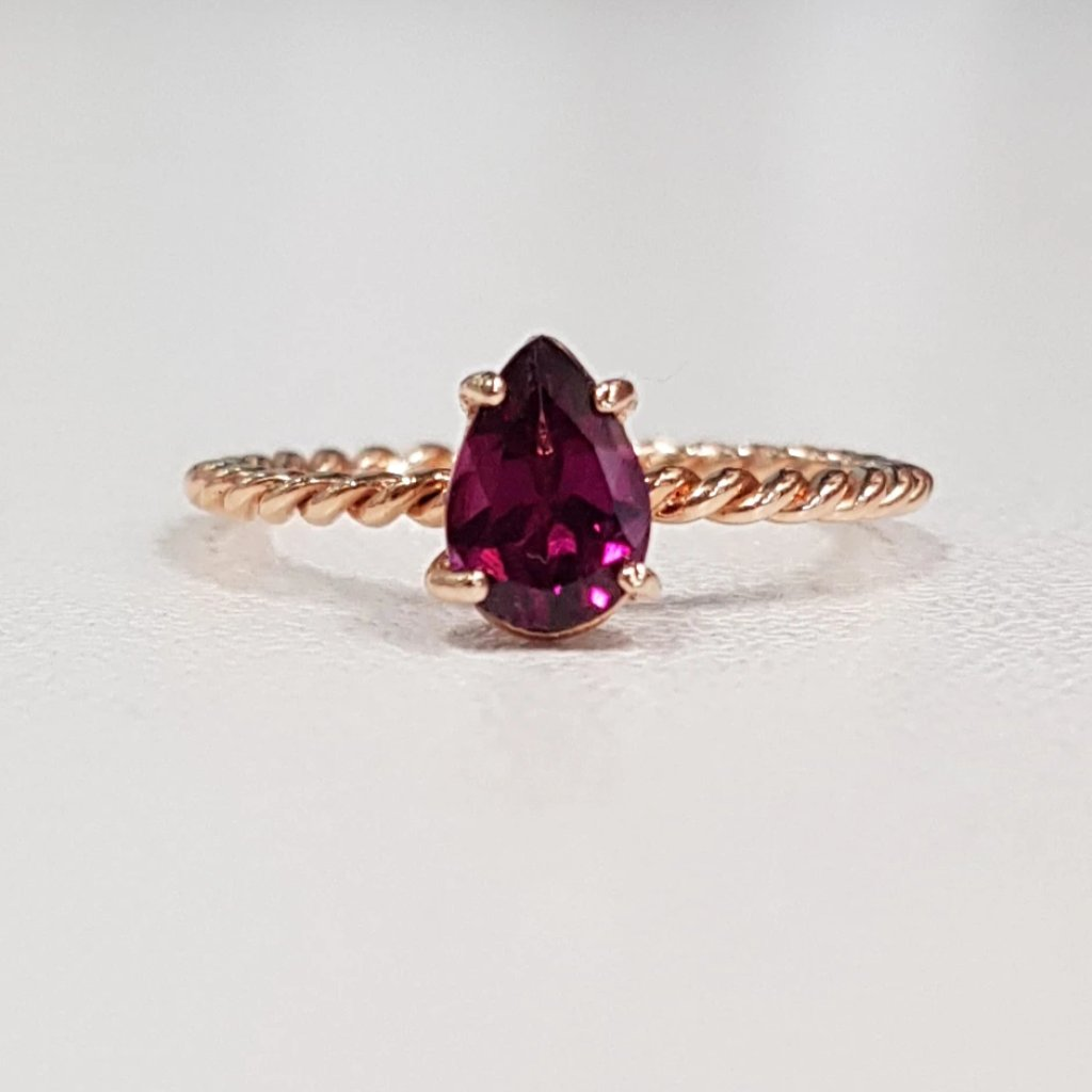 Rhodolite Teardrop Twist Ring