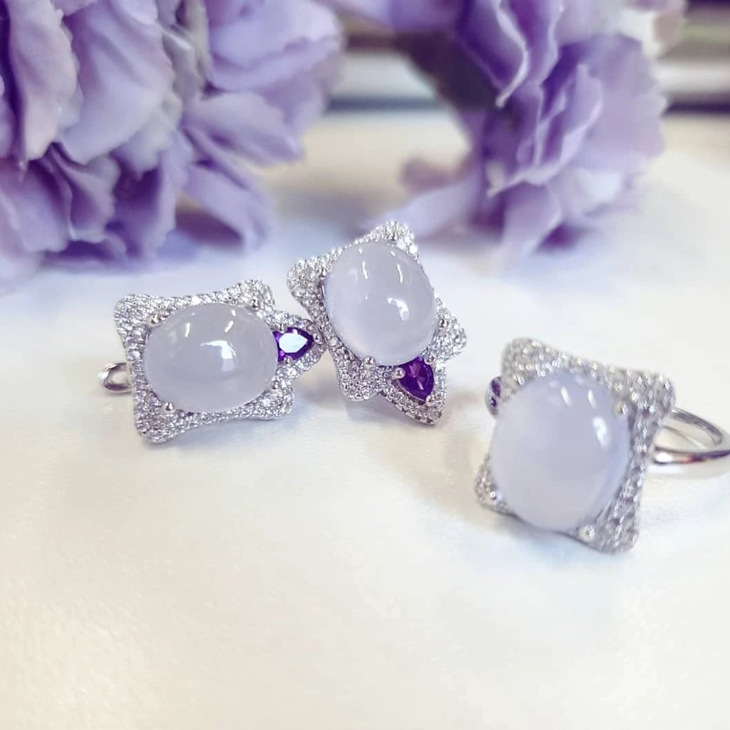 Lavender Jade with Amethyst Fine Earrings