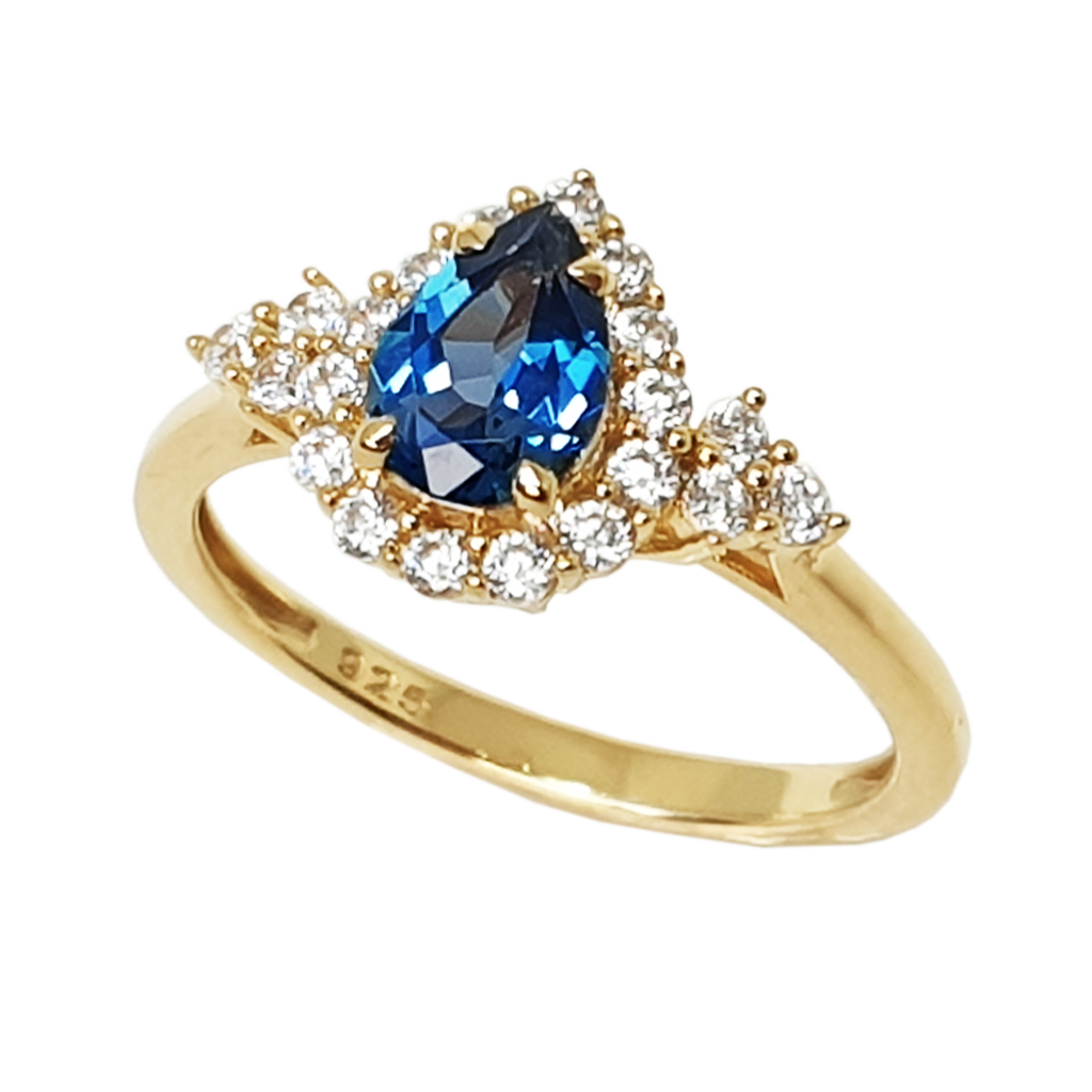 London Blue Topaz: pear shaped ring