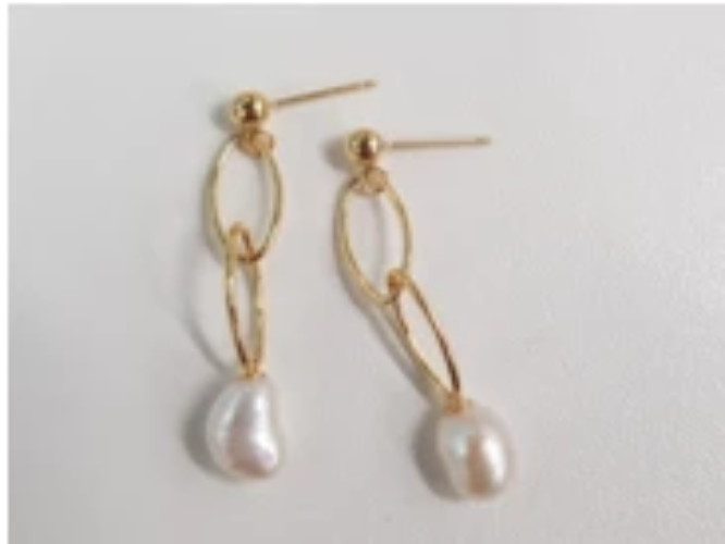 Sea pearl chain dangling earrings