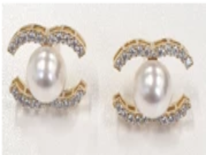 C-fresh water pearl earrings (8mm)