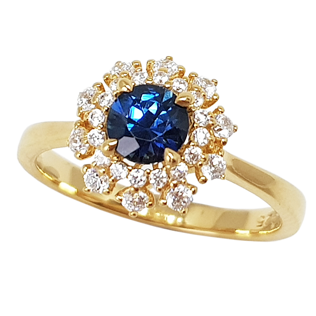 Sapphire Snow Flake Ring