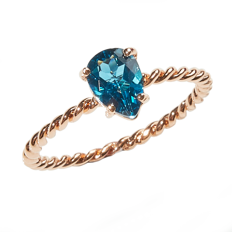 London Blue Topaz Twist Ring