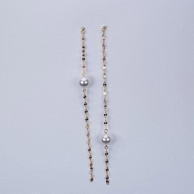 Uneven freshwater pearl italian chain earrings