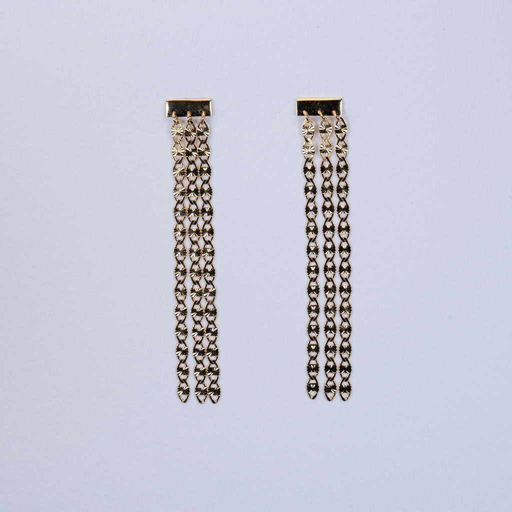 Three layer chain earrings