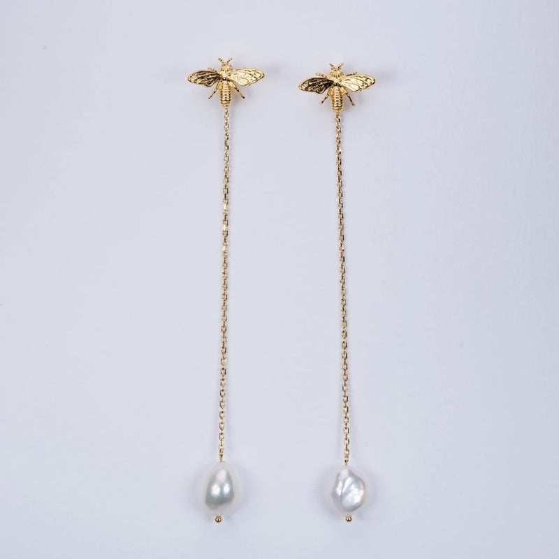 Bee sea pearl jacket earrings