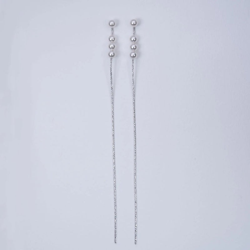 Fresh water pearl long chain earrings