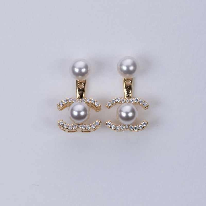 C-fresh water pearl jacket type earrings