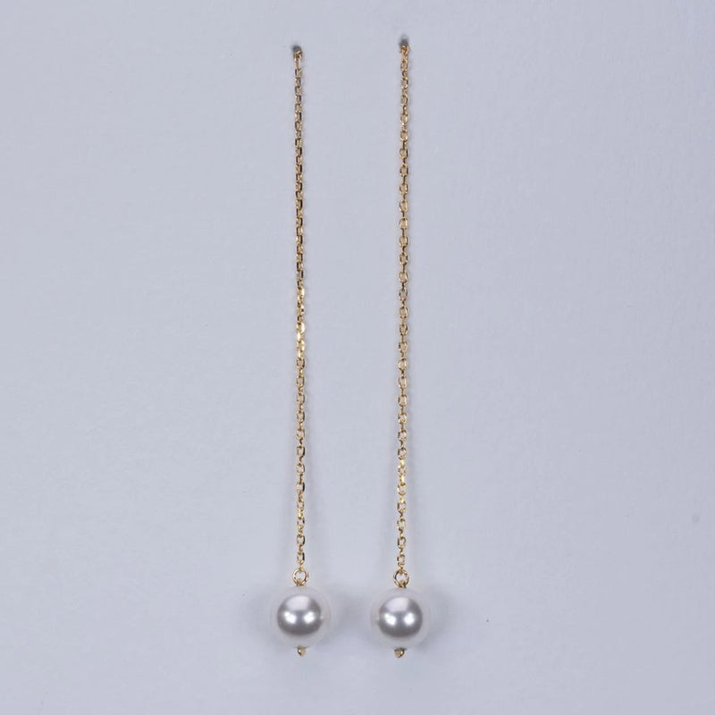 Simple fresh water pearl pull through earrings (6mm)