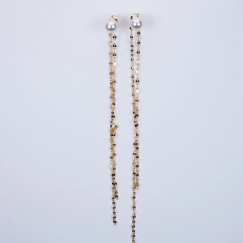 Fresh water pearl long Italian chain earrings