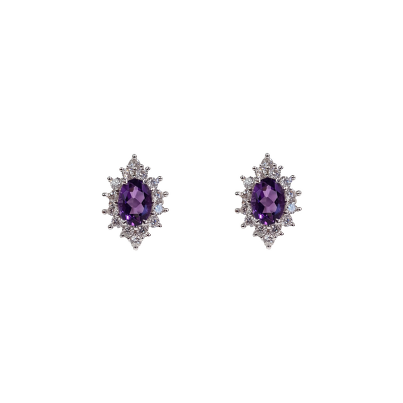 Amethyst: Oval Cut Earrings