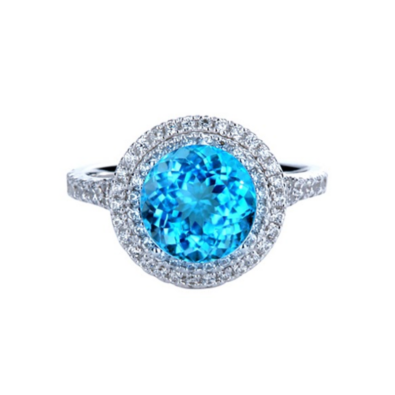 Round Blue Topaz Double Halo Ring