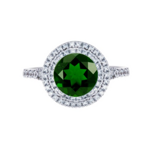 Round Chrome Diopside Double Halo Ring