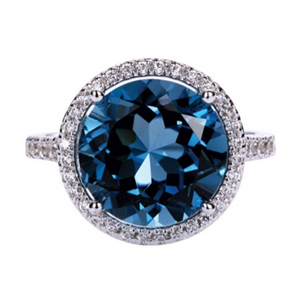 Round London Blue Topaz Halo Ring