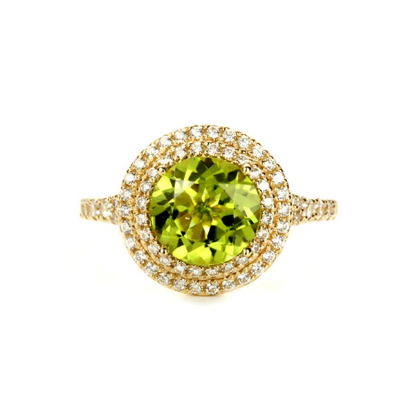 Round Peridot Double Halo Ring