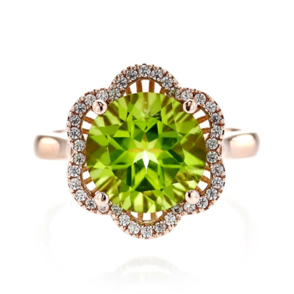 Peridot Floral Design Ring