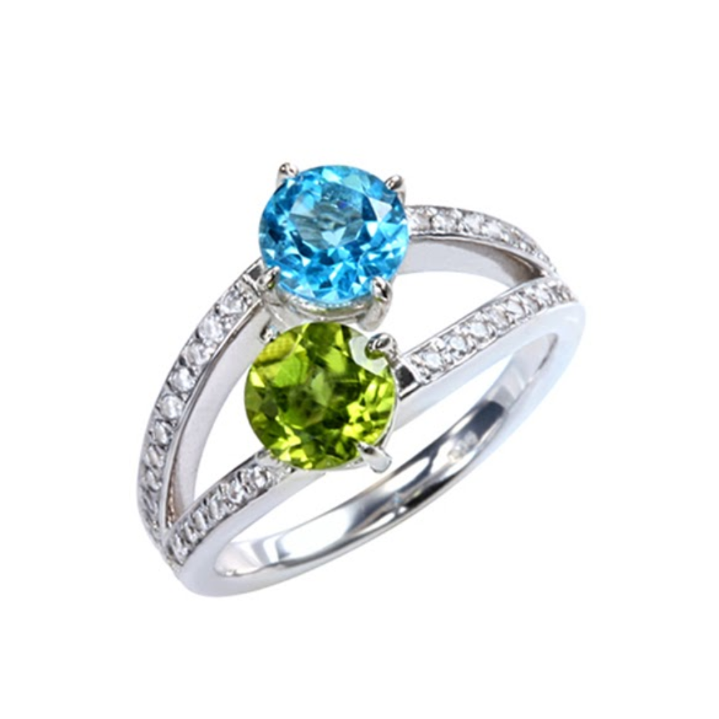 Peridot and Blue Topaz Split Band Ring