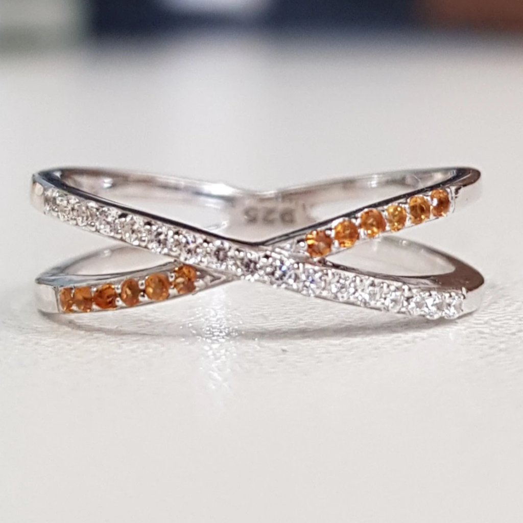 Cross Ring-Citrine