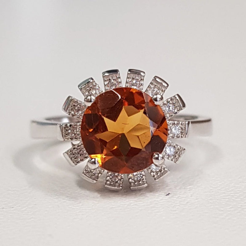 Citrine Fine Ring; Sunflower
