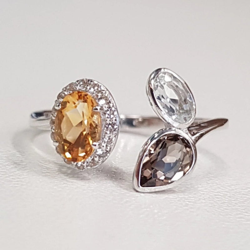 Citrine, Smoky Quartz and White Topaz Ring