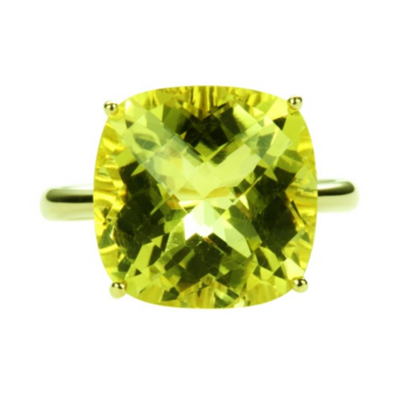 Cushion Cut Lemon Quartz Ring