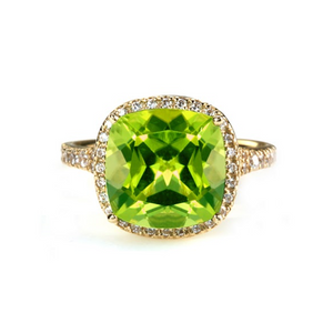 Cushion Cut Peridot (large size) Halo Ring