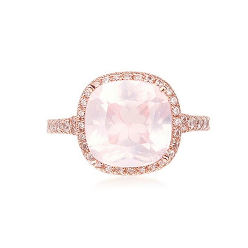 Cushion Cut Rose Quartz Halo Ring