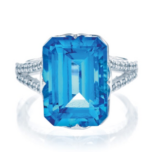 Emerald Cut Blue Topaz Ring