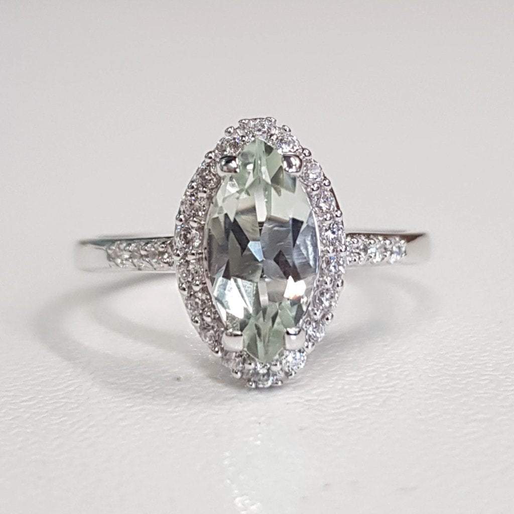Green Amethyst Navette cut Ring