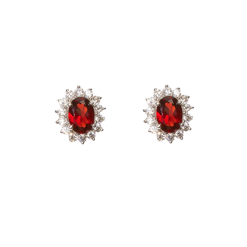 Garnet Halo Design Oval Earrings