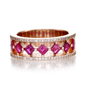 Square Cut Ruby Wide Band Ring