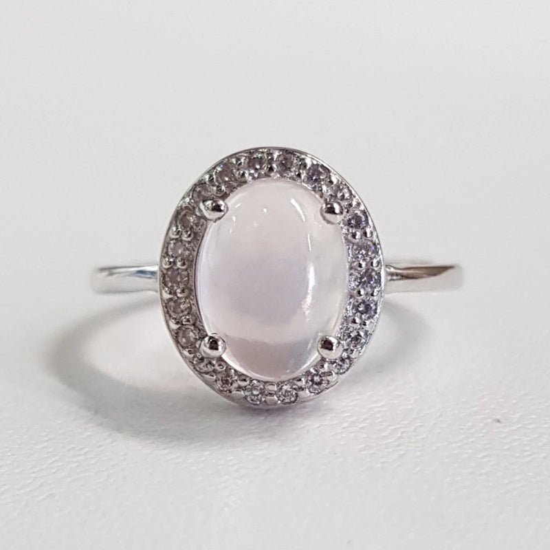 Ice Rose Quartz Classic Design Ring
