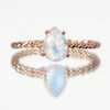 Moonstone Teardrop Twist Ring