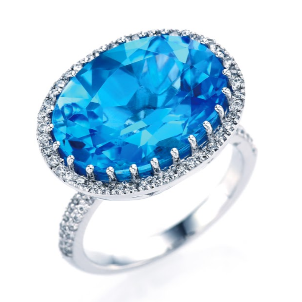 Oval Blue Topaz Halo Ring